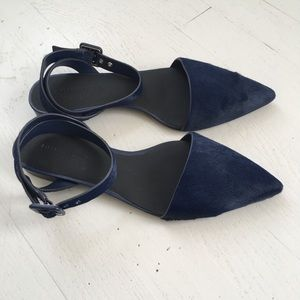 Alexander Wang navy fur ballet flats pointy NEW